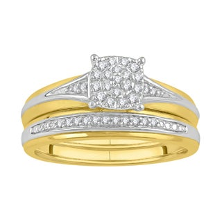 14k Yellow Gold Over Silver, Sterling Silver 1/6ct TDW Diamond Bridal Set (I-J, I2-I3)