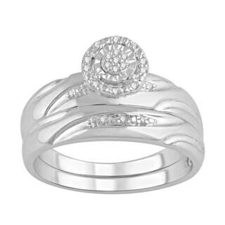 Sterling Silver Diamond Accent Diamond Bridal Set