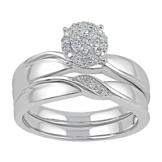 Sterling Silver 1/8ct TDW Diamond 2-piece Bridal Set