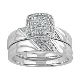 Sterling Silver 1/5ct TDW Diamond Cluster Bridal Set