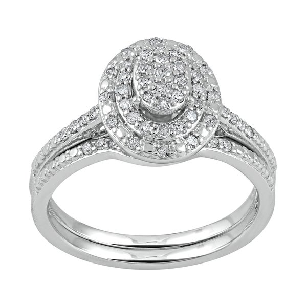 Sterling Silver 1/2ct TDW Diamond Double Oval Frame Bridal Set ...
