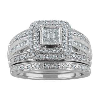 Sterling Silver 1/2ct TDW Diamond Quad Bridal Set