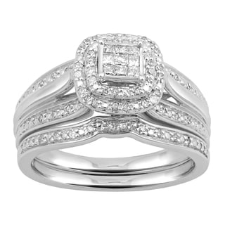 Sterling Silver 1/3ct TDW Diamond Quad Bridal Set (I-J, I2-I3)