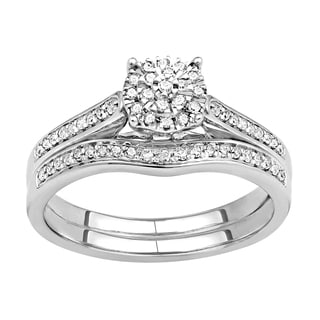 Sterling Silver 1/4ct TDW Diamond Bridal Set