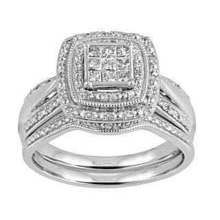 Sterling Silver 1/3ct TDW Diamond Halo Frame Bridal Set (I-J, I2-I3)