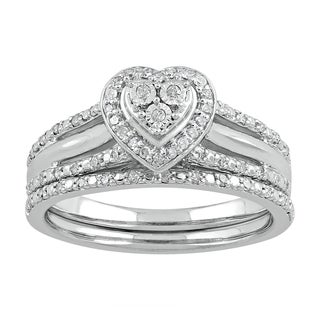 Sterling Silver 1/4ct TDW Diamond Heart-shape Bridal Set (I-J, I2-I3)