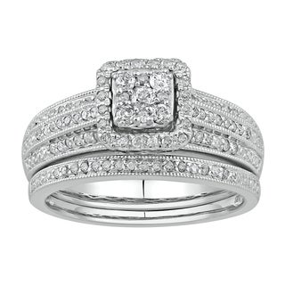 Sterling Silver 1/2ct TDW Diamond Frame Bridal Set (I-J , I2-I3)