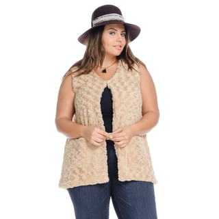 Hadari Women's Plus Size Casual Trendy Sleeveless Black Faux Fur Vest with Pockets