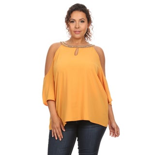 Hadari Women's Plus Size Blouse with Keyhole Detail Front and Back