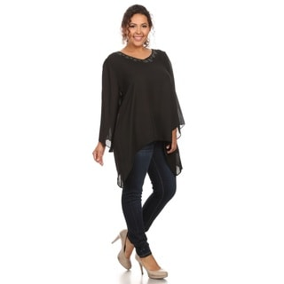 Hadari Women's Plus Size Solid Chiffon V-Neck Top Beaded Neckline