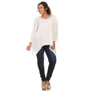 Hadari Women's Plus Size Solid Chiffon V-Neck Top Beaded Neckline