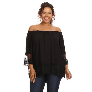 Hadari Women's Plus Size Casual Off Shoulder Blouse