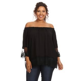 Hadari Women's Plus Size Casual Off Shoulder Blouse|https://ak1.ostkcdn.com/images/products/12948910/P19699705.jpg?impolicy=medium