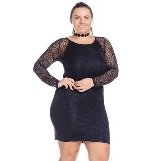 Hadari Women's Plus Size Sexy Lace Sleeve Bodycon Party Dress