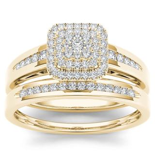 De Couer 10k Yellow Gold 1/3ct TDW Diamond Cluster Halo Bridal Set (More options available)