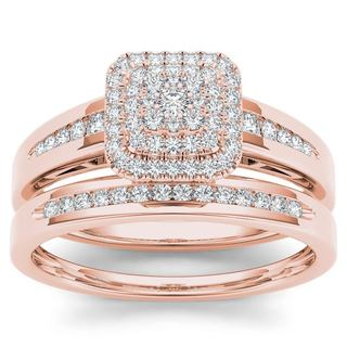 De Couer IGI Certified 10k Rose Gold 1 3ct TDW Diamond Cluster Halo Bridal Set Pink