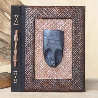 Handmade Wood Natural Fiber 'Reminiscent Woman' Photo Album (Indonesia)