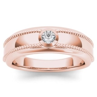 De Couer 14k Rose Gold 1/5ct TDW Diamond Men's Wedding Band (H-I, I2)