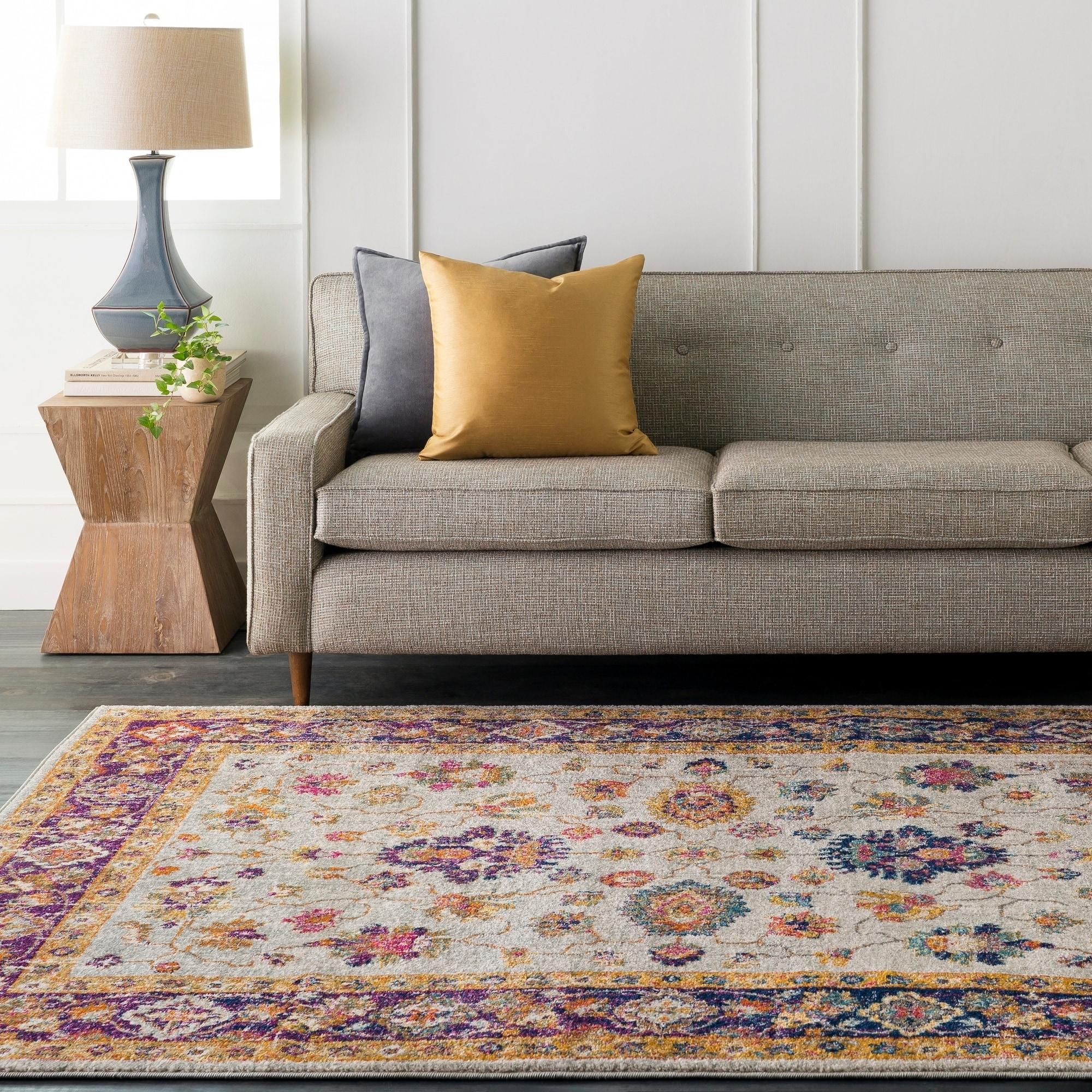 Chevrolet Gardenia Boho Traditional Purple & White rug (5...