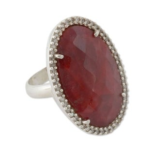 Handcrafted Sterling Silver 'Ravishing Ruby' Enhanced Ruby Zirconia Ring (India)