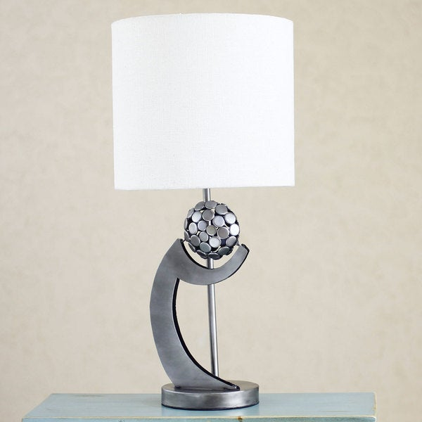 Handmade Upcycled Metal 'Sphere of my Memories' Table Lamp (Mexico)