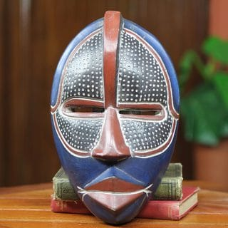 Handcrafted Sese Wood 'Noble Knight' African Wall Mask (Ghana)