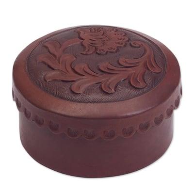 Handmade Leather Andean Thistle Decorative Box (Peru)