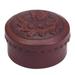 Handmade Leather 'Andean Thistle' Decorative Box (Peru)