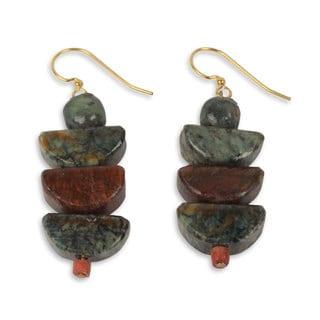 Handcrafted Brass 'Nkabom' Soapstone Earrings (Ghana)