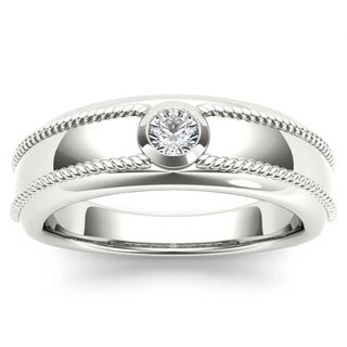 De Couer 14k White Gold 1/5ct TDW Diamond Men's Wedding Band (H-I, I1-I2)