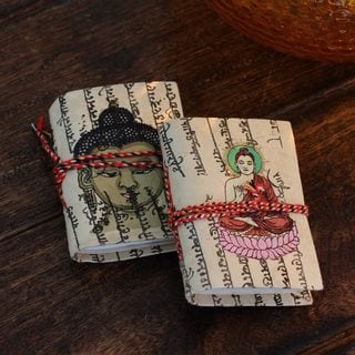 Set of 2 Handmade Paper 'Serenity' Petite Journals 48 Blank Pages (India)