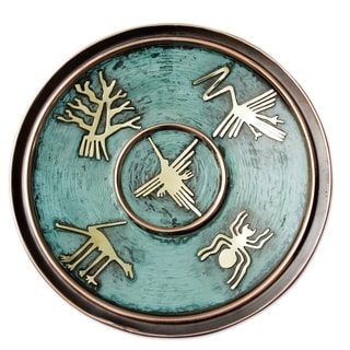 Handcrafted Copper Bronze 'Images From Nazca' Decorative Plate (Peru)