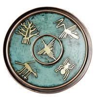 Handmade Copper Bronze 'Images From Nazca' Decorative Plate (Peru)
