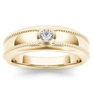 De Couer 14k Yellow Gold 1/5ct TDW Diamond Men's Wedding Band