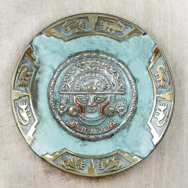 Handmade Copper Bronze 'Ceremonial Blade Deity' Decorative Plate (Peru)