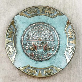 Handmade Copper Bronze 'Ceremonial Blade Deity' Decorative Plate (Peru)