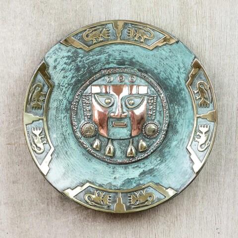 Handmade Copper Bronze 'Lambayeque' Decorative Plate (Peru)