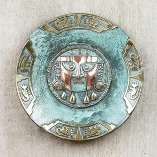 Handcrafted Copper Bronze 'Lambayeque' Decorative Plate (Peru)
