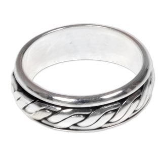 Men's Handcrafted Sterling Silver 'Lightning Track' Ring (Indonesia)