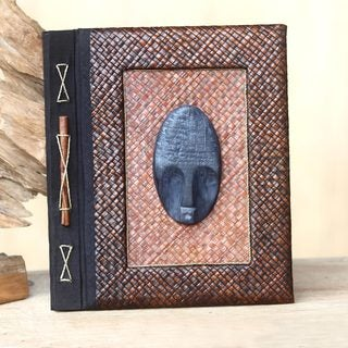 Handmade Wood Natural Fiber 'Reminiscent Man' Photo Album (Indonesia)