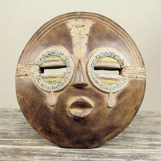 Handcrafted Sese Wood 'Tears of Joy' Beaded African Wall Mask (Ghana)
