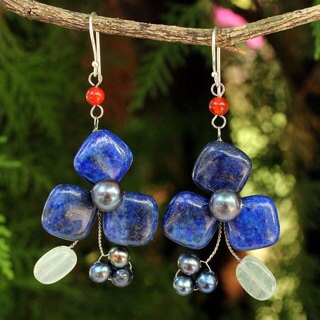 Handcrafted Sterling Silver 'Blue Clover' Multi-gemstone Pearl Earrings (8 mm) (Thailand)