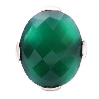 Handcrafted Sterling Silver 'Verdant Magic' Green Onyx Ring (India)