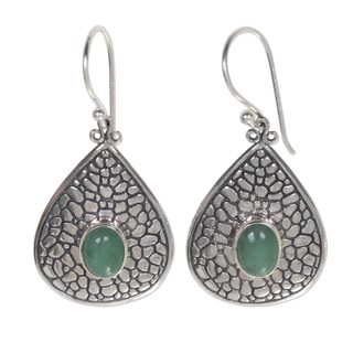Handcrafted Sterling Silver 'Sacred Lake' Aventurine Earrings (Indonesia)