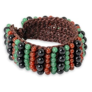 Handcrafted Polyester 'Ethnic Parallels' Multi-gemstone Bracelet (Thailand)