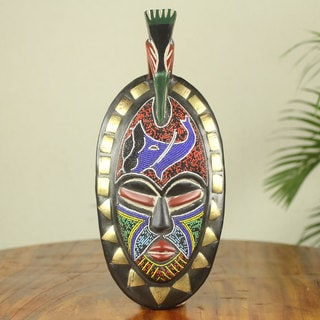 Handcrafted Sese Wood 'Ekua' Beaded African Wall Mask (Ghana)
