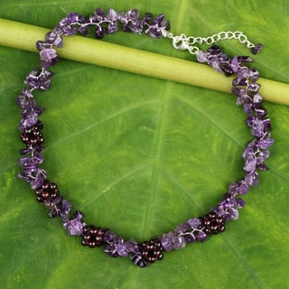 Handmade Sterling Silver Overlay 'Heaven's Gift' Amethyst Garnet Necklace (Thailand)