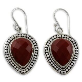 Handmade Sterling Silver 'Facets of Fire' Jasper Earrings (India)