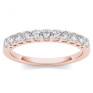De Couer 10k Rose Gold 3/8ct TDW Diamond Women's Wedding Band (H-I, I2)