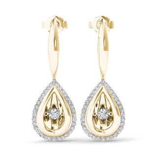 De Couer 10k Yellow Gold 1/3ct TDW Diamond Halo Drop Earrings